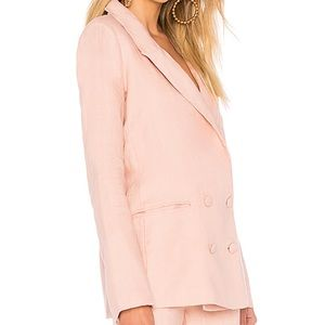 Lovers + Friends Jackets & Coats - Lover and Friends Pink Fanning Linen Blazer